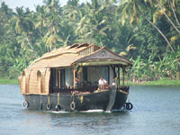 Houseboat on cruise in the Alleppey Lake